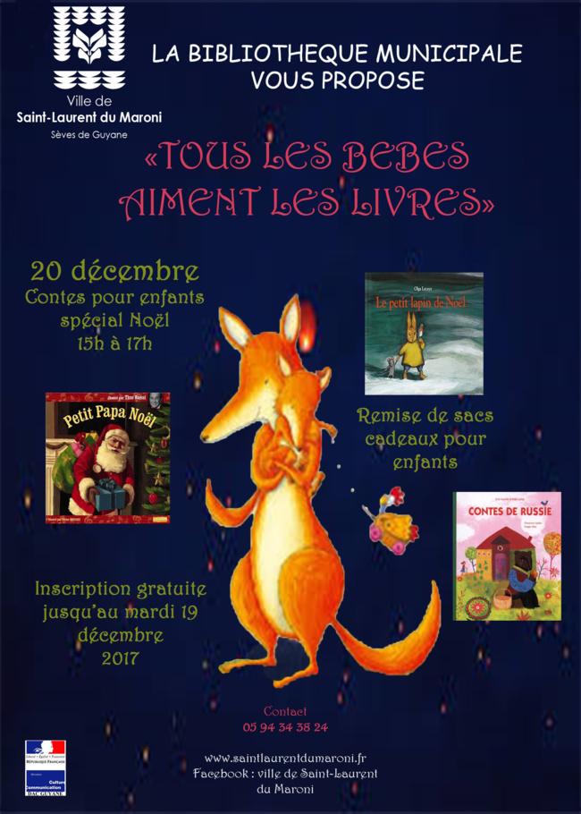 Le mercredi 20 décembre ne ratez pas la lecture de contes de Noel à la bibliothèque !