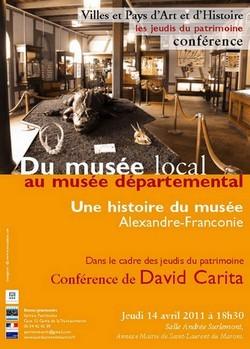 Conférence du Jeudi du Patrimoine sur l'histoire du Musée Alexandre-Franconie