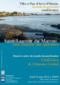 Conférence du Jeudi du Patrimoine sur le théme : Saint-Laurent du Maroni, une histoire des quartiers présentée par Clémence LEOBAL.
