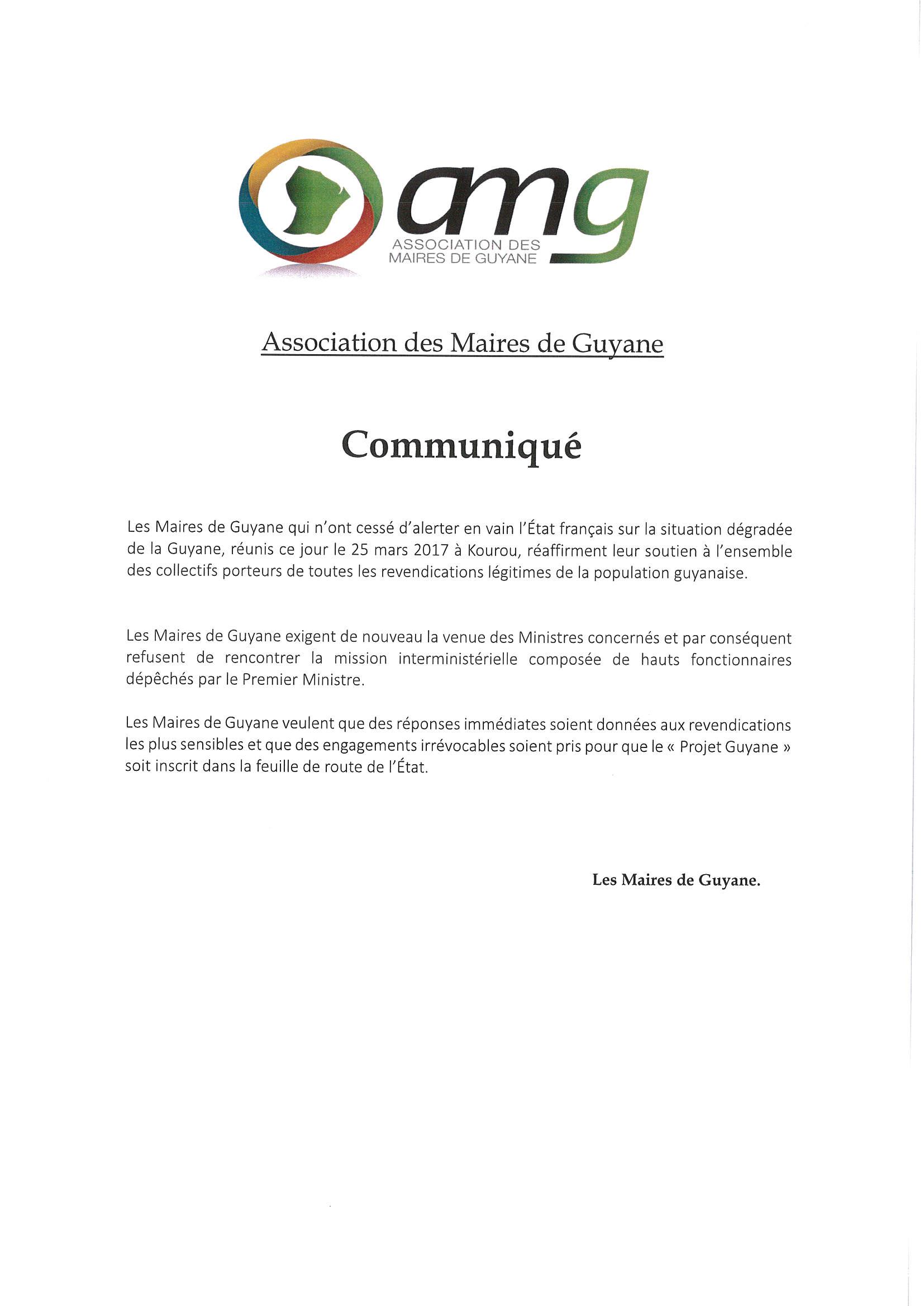 Communiqué adressé par les Maires de Guyane au gouvernement
