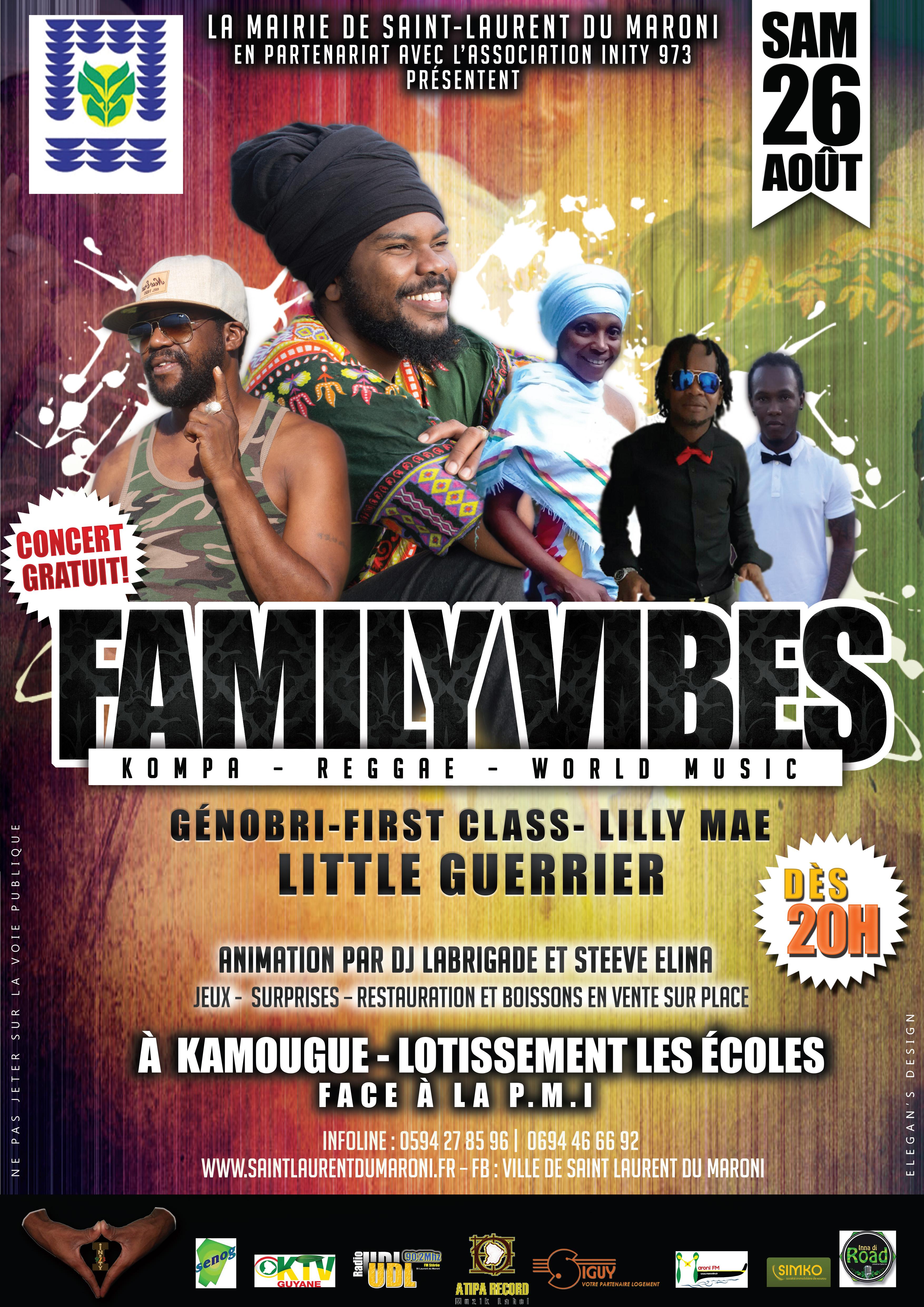 Le 26 août ne ratez pas le concert gratuit Family Vibes à Kamougue !