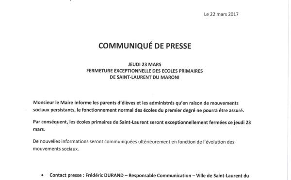 Jeudi 23 mars : fermeture exceptionnelle des écoles primaires de Saint-Laurent.