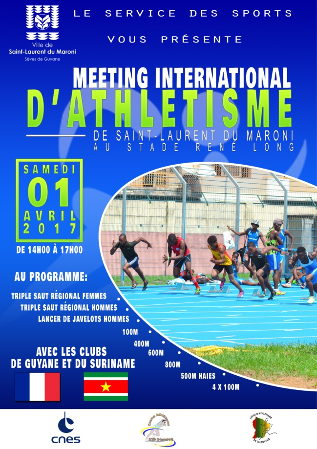 Samedi 01 avril : meeting international d'athlétisme de Saint-Laurent