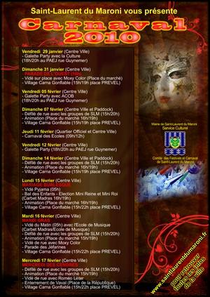 Le service culturel de la ville vous présente le programme du Carnaval 2010