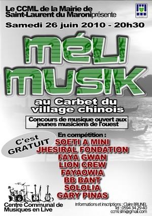 Méli Musik 2010 :  Un concours pour accompagner les jeunes artistes Guyanais