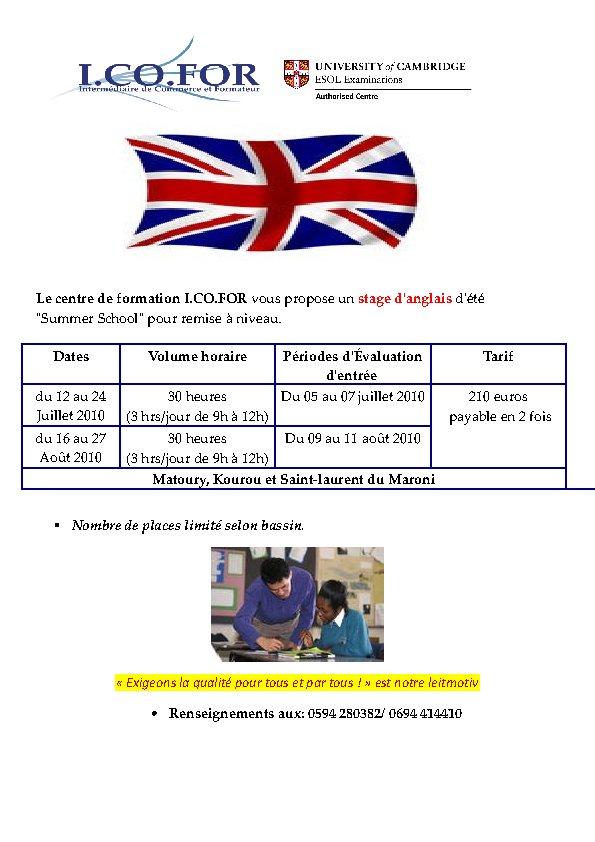 Stages d'été de remise à niveau en Anglais - Recherche professeurs