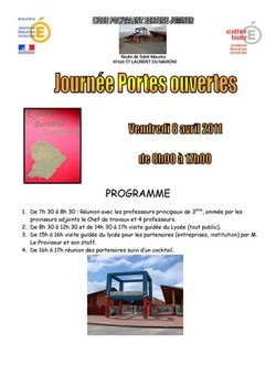 """""""JOURNEE PORTES OUVERTES"""" au lycée Bertène JUMINER, le vendredi 08 avril 2011 de 08H00 à 17H00."""