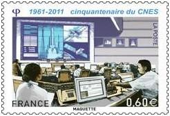 Mise en vente du timbre commémoratif du cinquantenaire de la création du CNES (1961 - 2011).