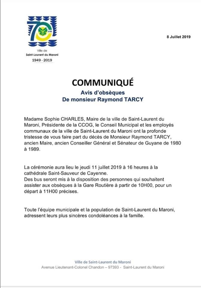 [Communiqué] : Avis d'obsèques de Monsieur Raymond TARCY