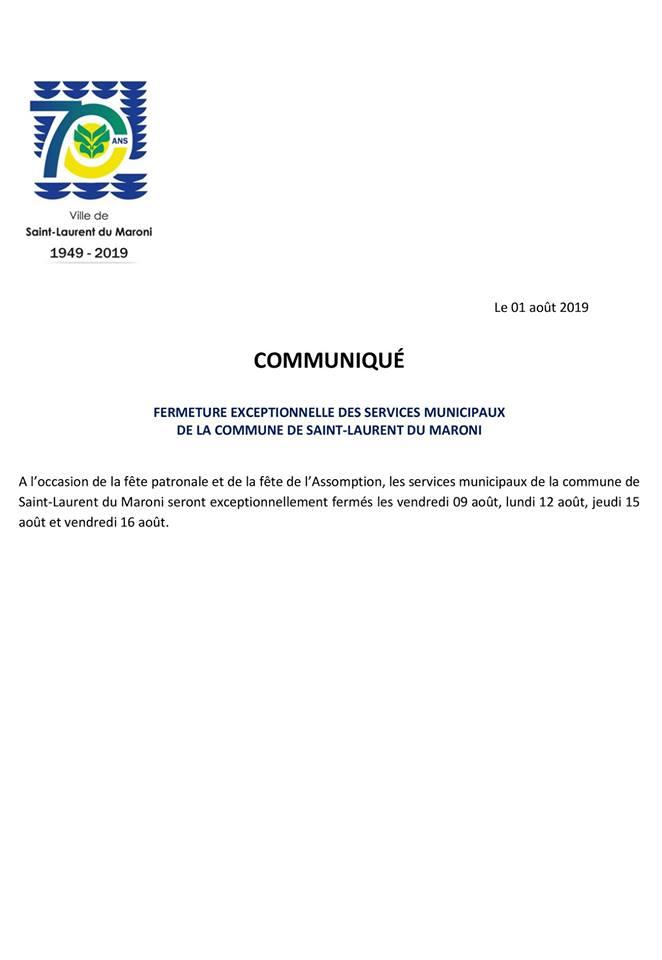 [RAPPEL] : fermeture exceptionnelle des services municipaux de la commune de Saint-Laurent du Maroni