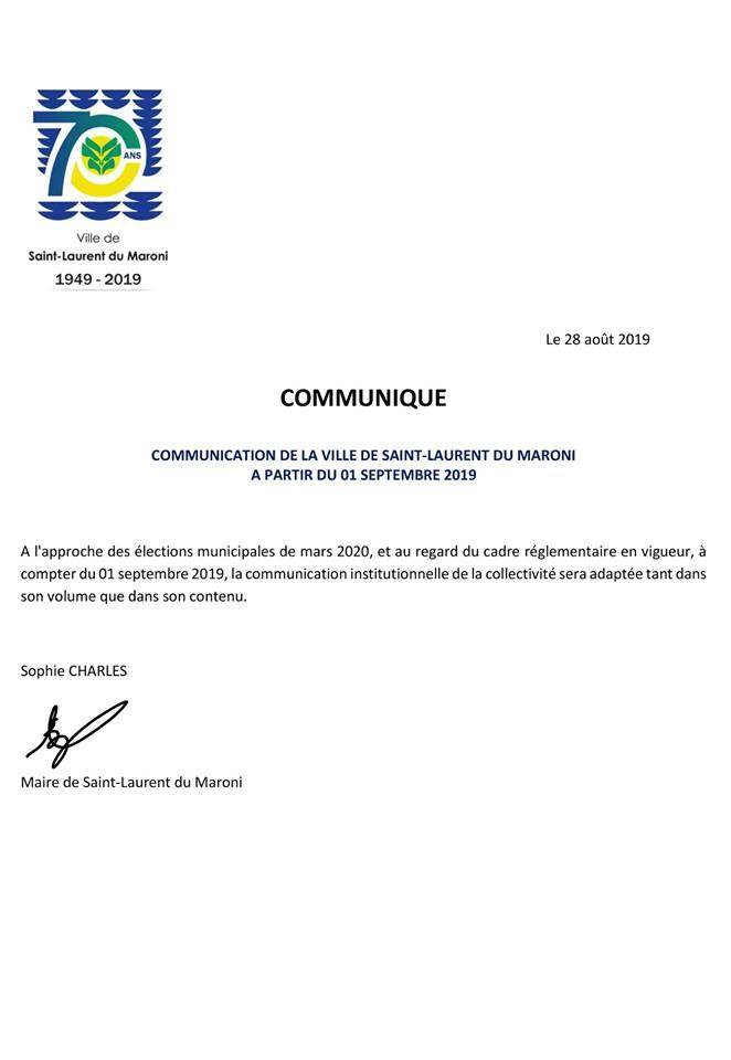 [Communiqué] : communication de la collectivité à partir du 01 septembre 2019