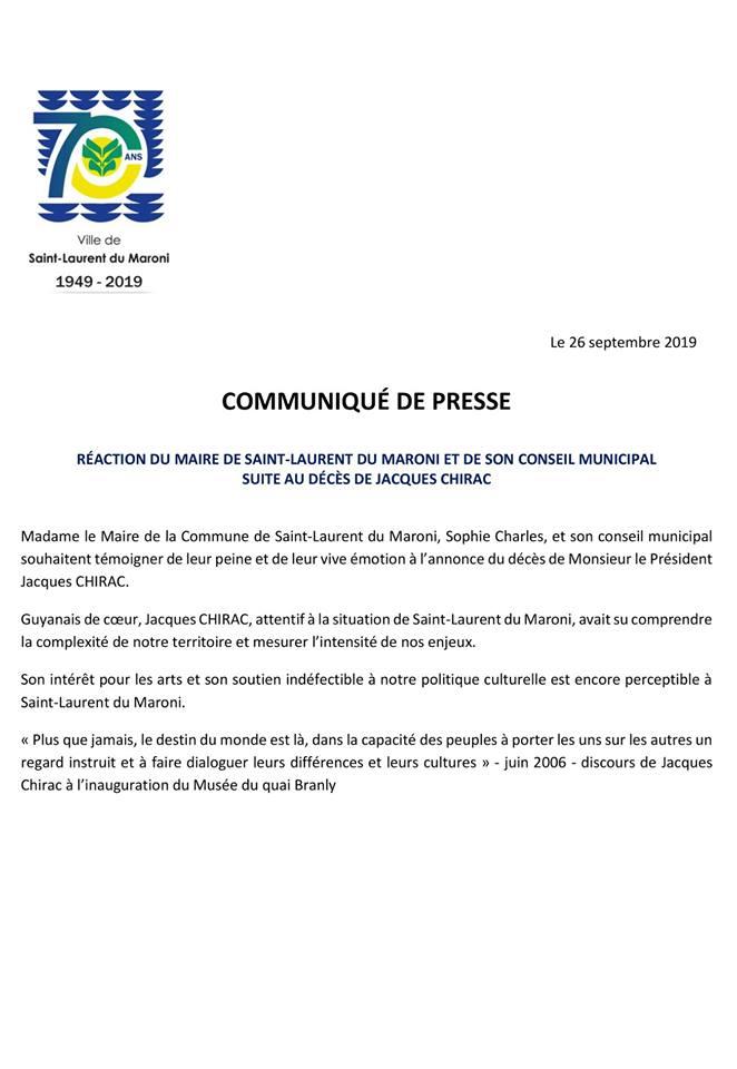 [Communiqué] : réaction du maire de Saint-Laurent du Maroni, Sophie CHARLES, et de son conseil municipal suite au décès de Jacques CHIRAC
