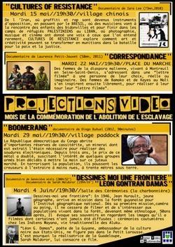 Prochaine projections vidéos de l'association Atelier Vidéo et Multimédia (AVM) du 15 Mai au 04 Juin 2012.