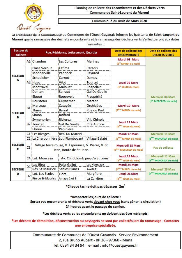 [CCOG] : planning de collecte des encombrants et déchets verts - MARS 2020
