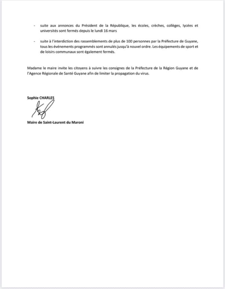 [Coronavirus guyane] : fonctionnement des services municipaux de Saint-Laurent du maroni à compter du 17 mars 2020