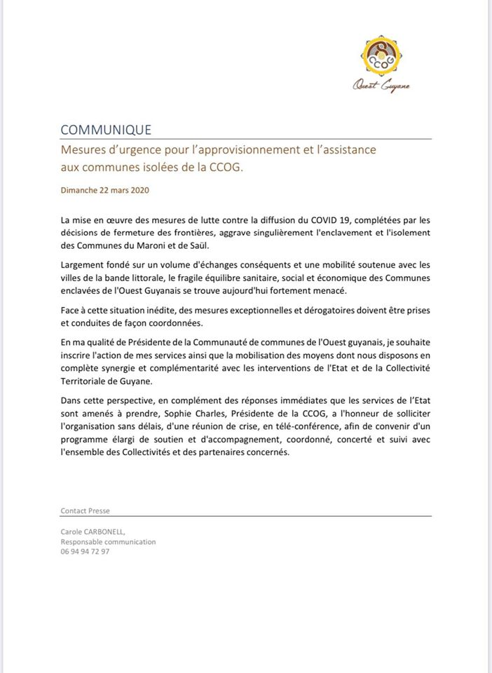 [Coronavirus guyane] : Ouest Guyane mobilisée pour l'approvisionnement et l'assistance aux communes isolées de la CCOG
