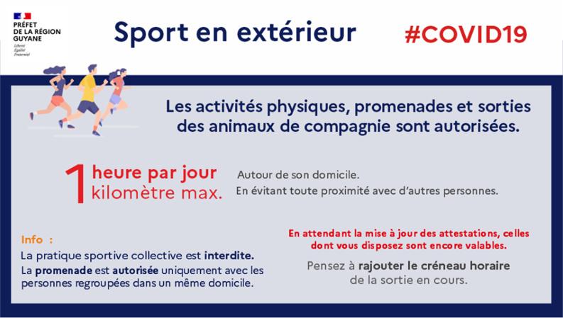 [Coronavirus guyane] : Préfet de la région Guyane rappelle que les sorties pour s'aérer et faire du sport sont limitées