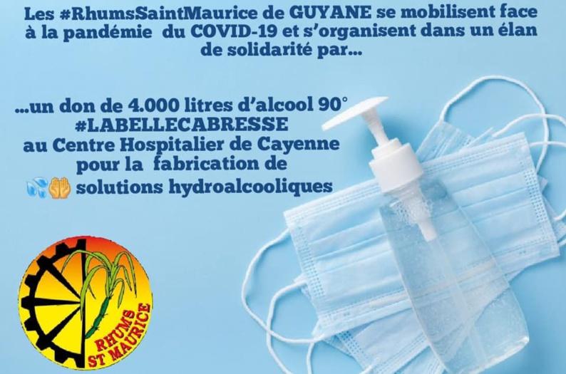 [Solidarité] : pendant la crise du coronavirus les Rhums Saint-Maurice situés à Saint-Laurent du maroni se mobilisent
