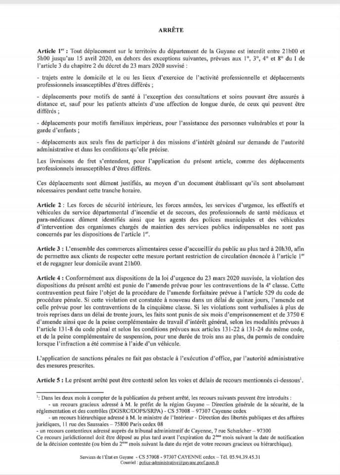 [Coronavirus guyane] : le Préfet de la région Guyane applique un couvre-feu à l'ensemble du territoire guyanais à partir de ce soir mardi 24 mars 2020 à 21h.