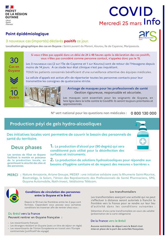 [Coronavirus guyane] : point de situation du 25 mars avec Préfet de la région Guyane et Agence Régionale de Santé Guyane