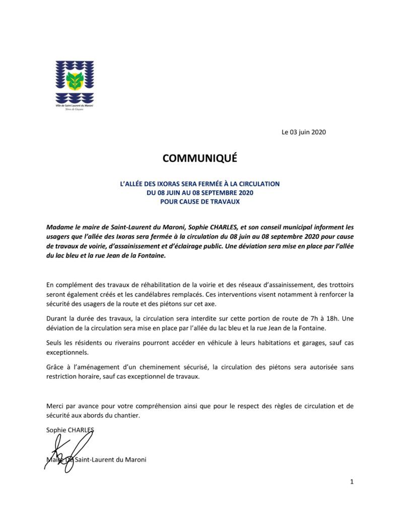 [#communiqué] : l'allée des Ixoras sera fermée à la circulation du 08 juin au 08 septembre 2020 pour cause de travaux