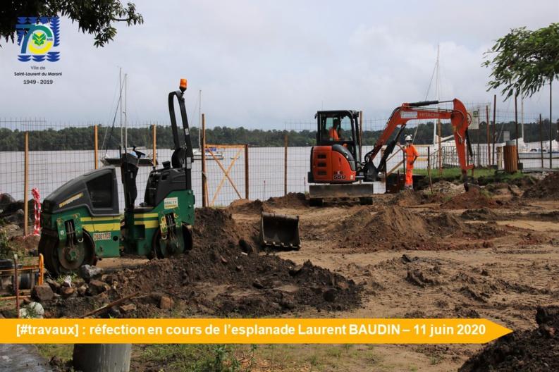 [#travaux] : réfection en cours de l'esplanade Laurent BAUDIN