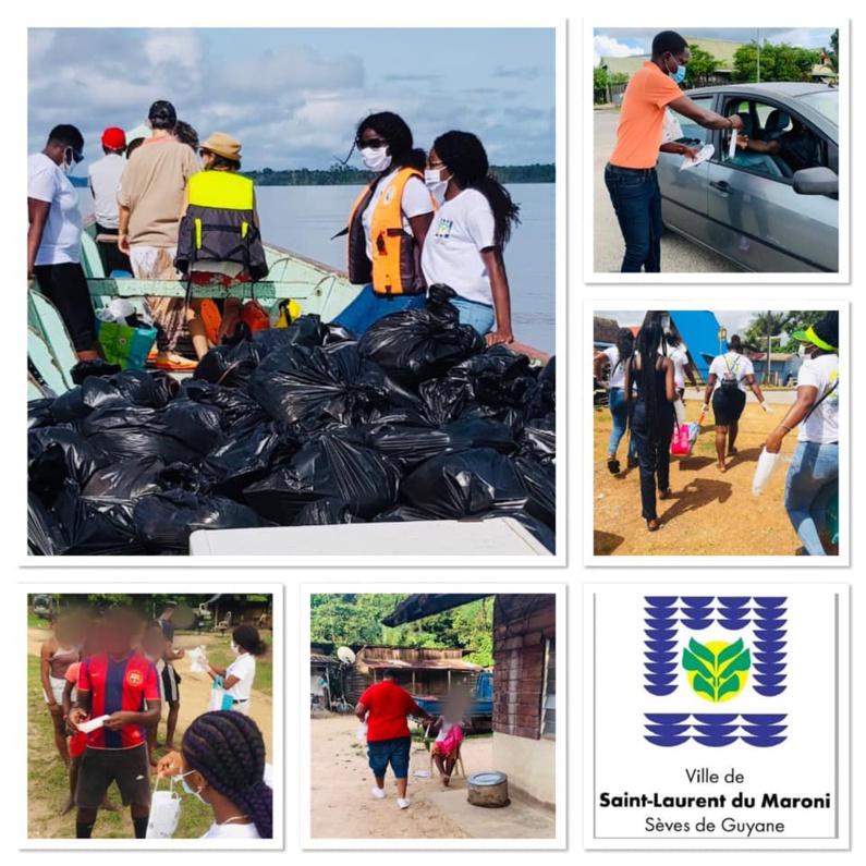 [#Prévention] : la commune poursuit les opérations de prévention et de distribution de masques et d'aide alimentaire dans les quartiers de #saintlaurentdumaroni