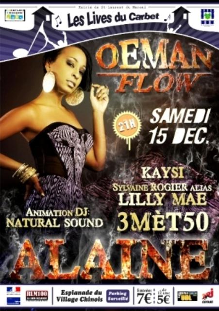 Concert Reggae avec Alaine (Jamaique), Sylvaine Rogier et 3M50