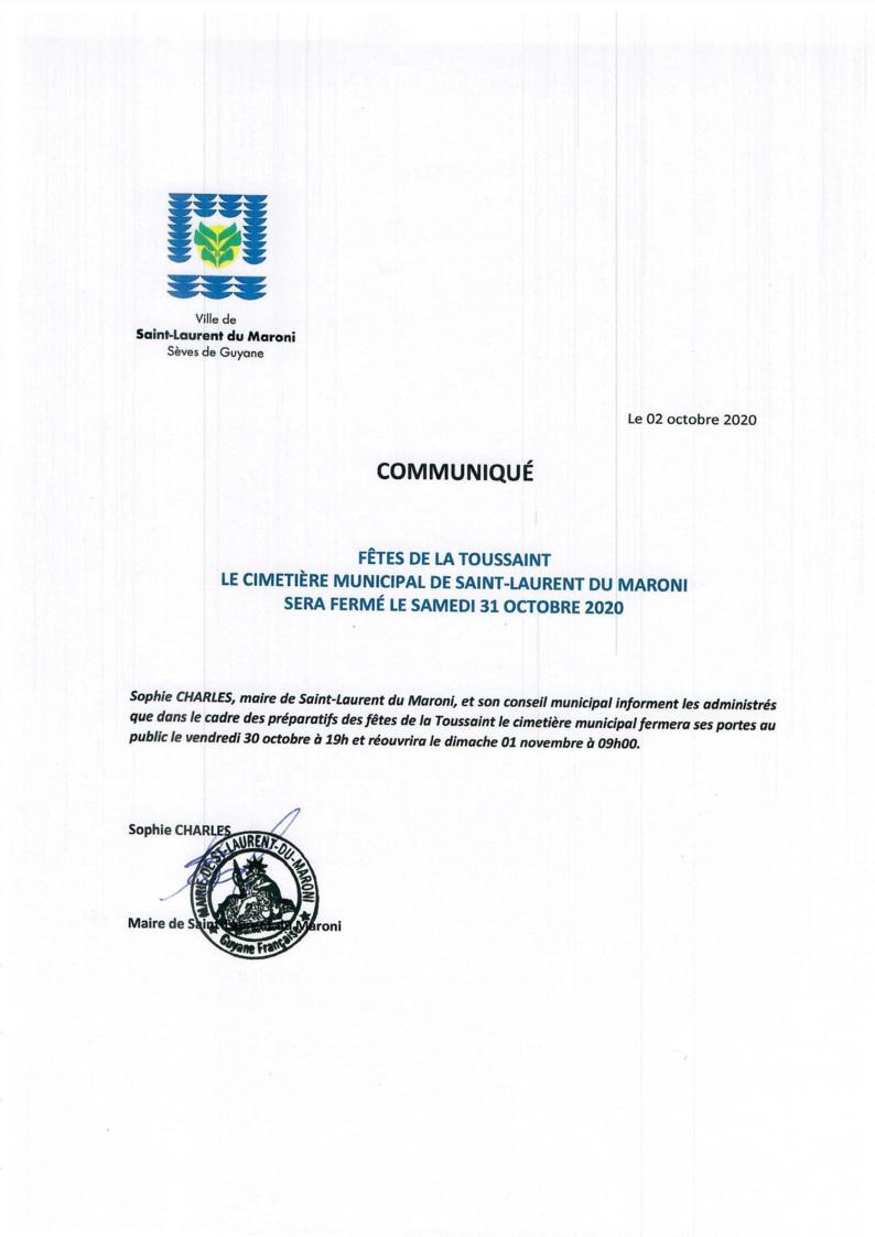 #FêtedelaToussaint : Communiqué relatif à la fermeture du cimetière municipal de #SaintLaurentduMaroni le samedi 31 octobre 2020