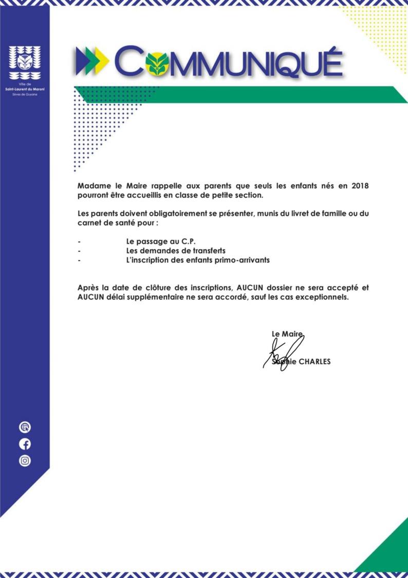 #Communiqué : Inscriptions scolaires dans les écoles du premier degré de #saintlaurentdumaroni pour l'année 2021-2022