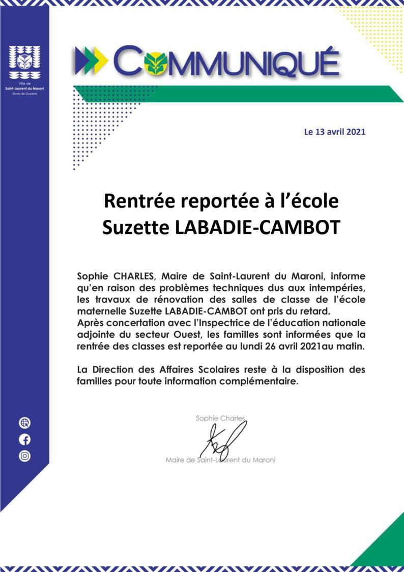 #Communiqué : Rentrée reportée à l'école Suzette LABADIE-CAMBOT
