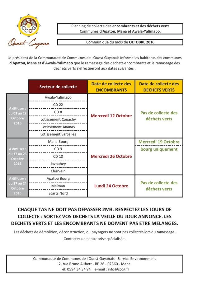 Planning de collecte des Encombrants du mois de Octobre