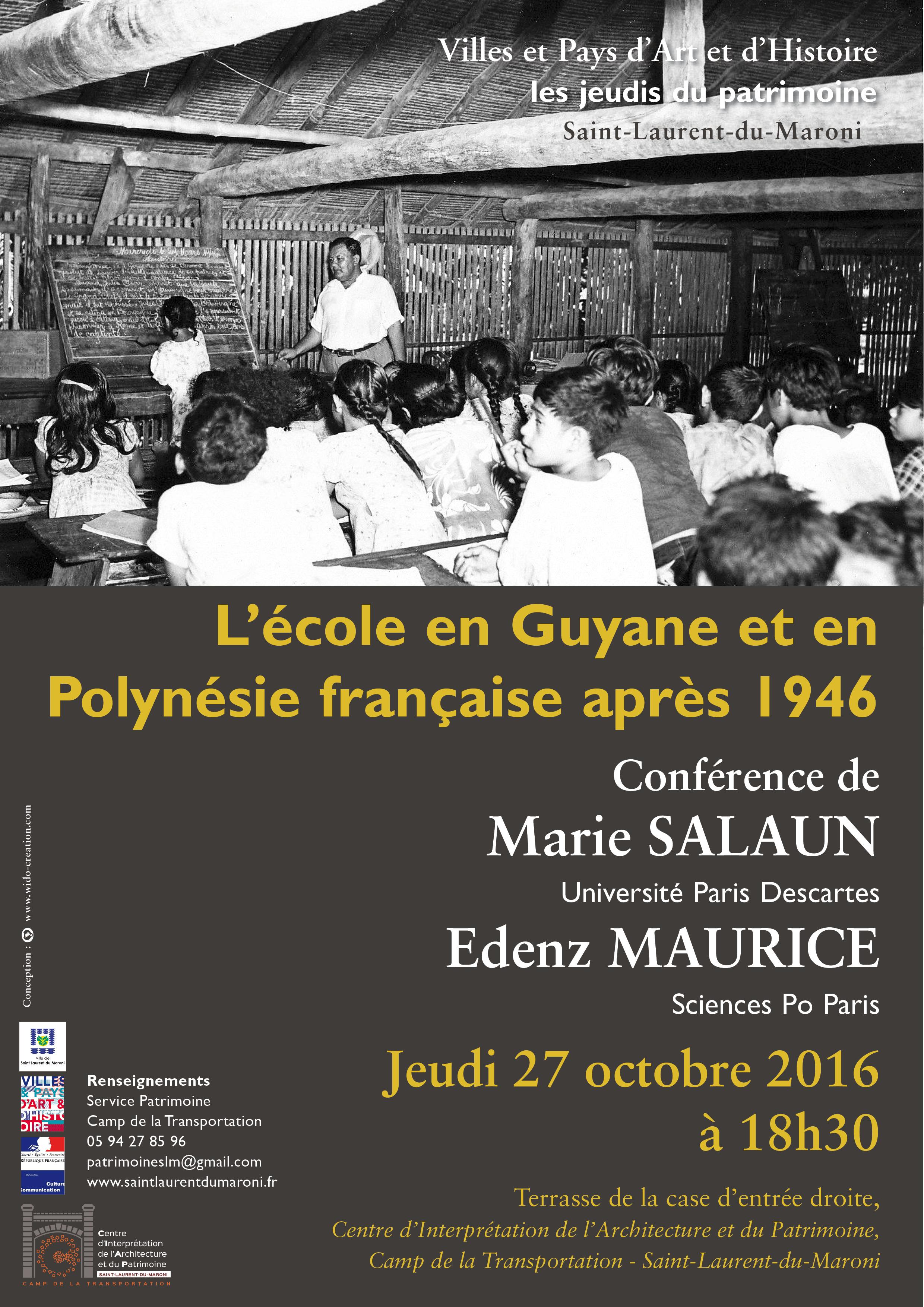 """Ce jeudi, venez assister à la conférence du CIAP : """"L'école en Guyane et en Polynésie française après 1946"""""""
