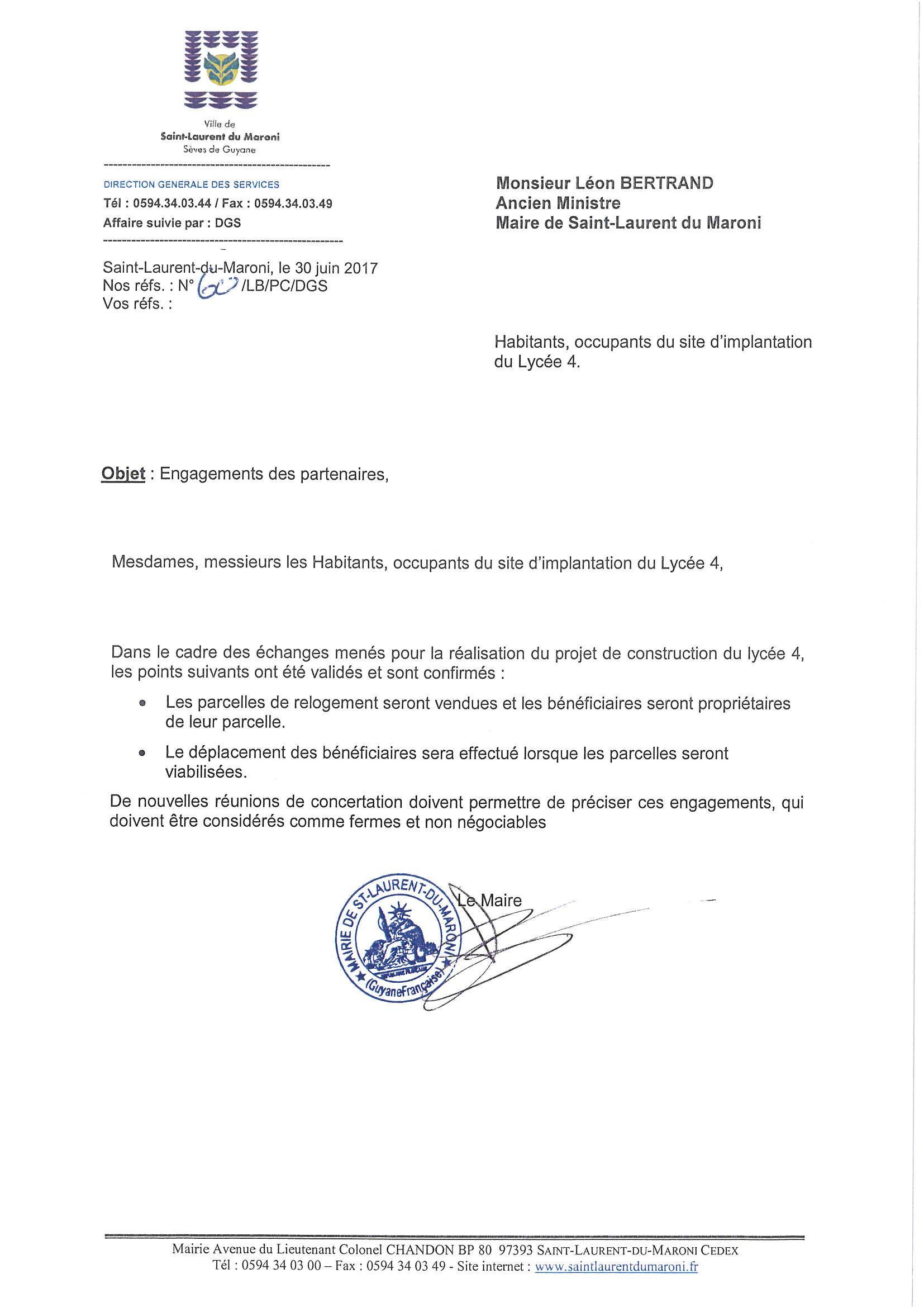 Engagement écrit remis par la Villle en réponse aux demandes des habitants occupant le terrain du futur lycée 4