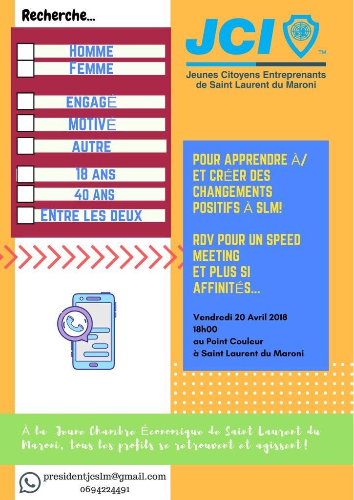 A vos agendas  : speed meeting des Jeunes Citoyens Entreprenants de Saint-laurent le 20 avril !