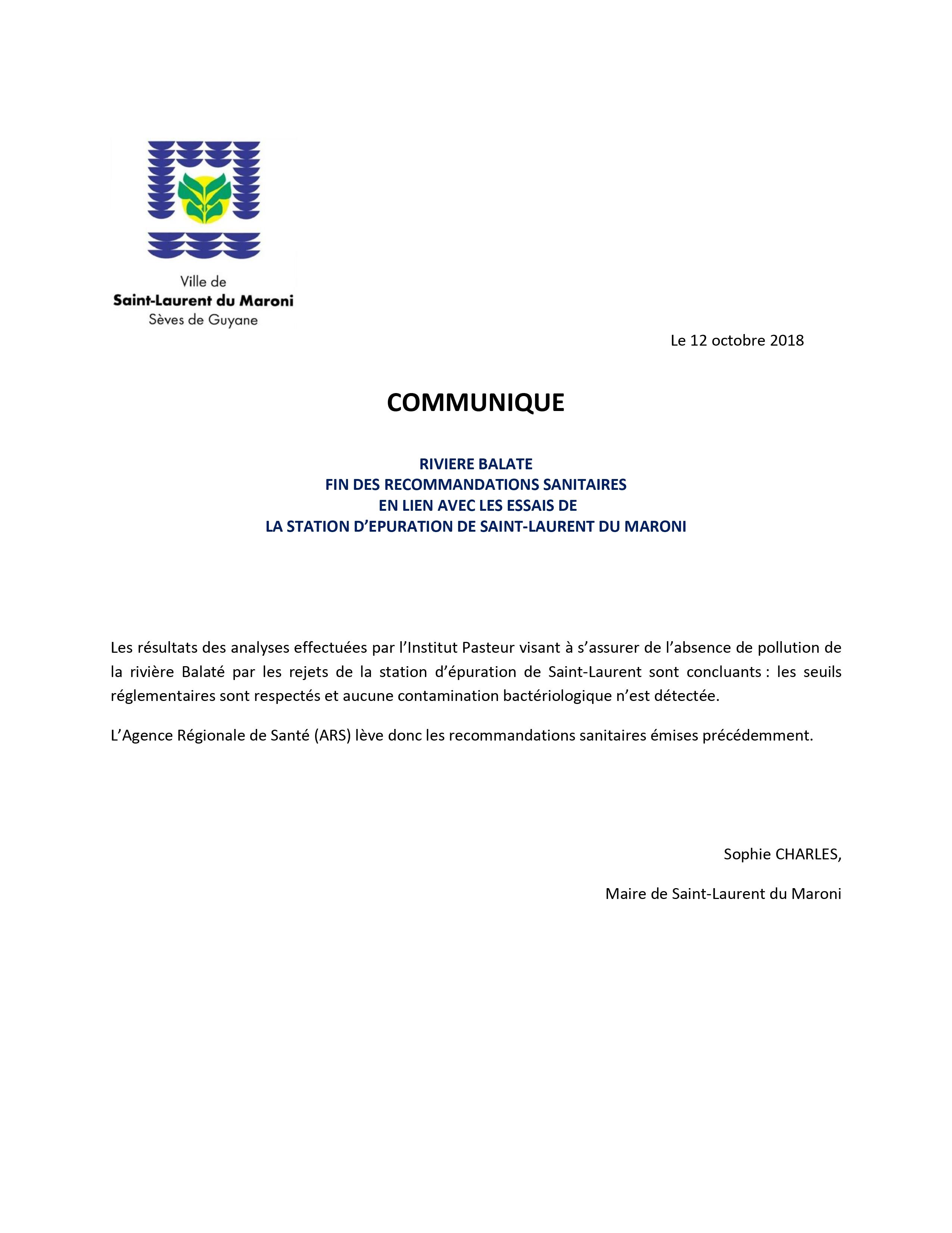 [Communiqué] : fin des recommandations sanitaires concernant la rivière Balaté