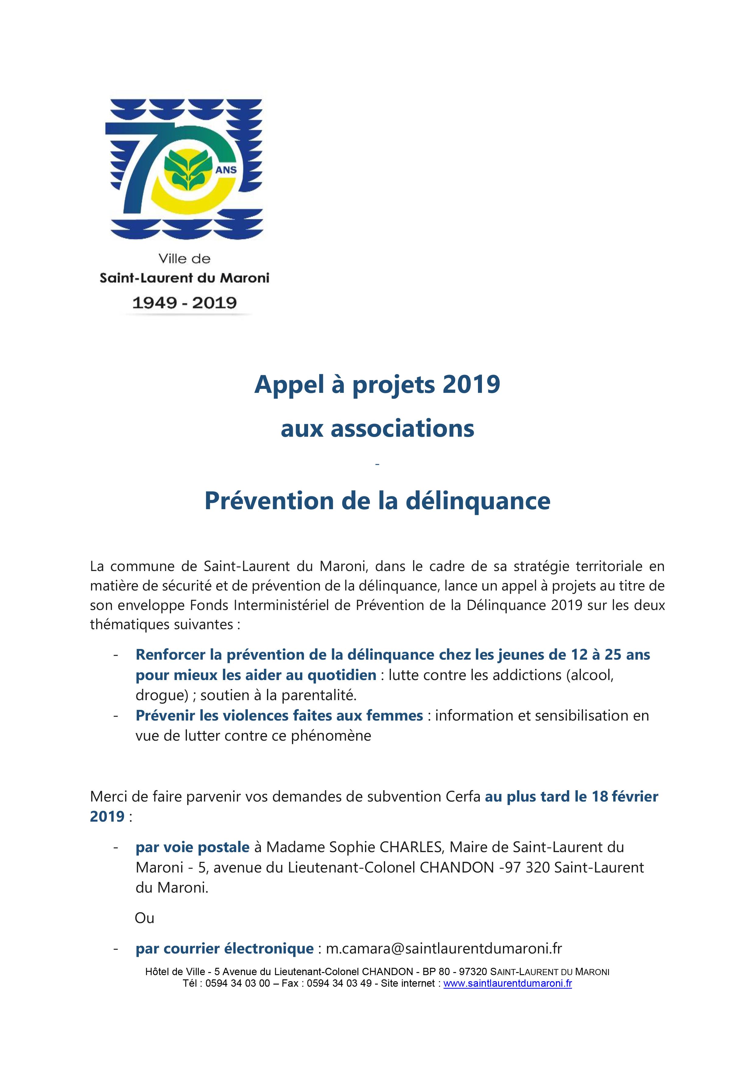 [Prévention de la délinquance] : appel à projets 2019 à destination des associations