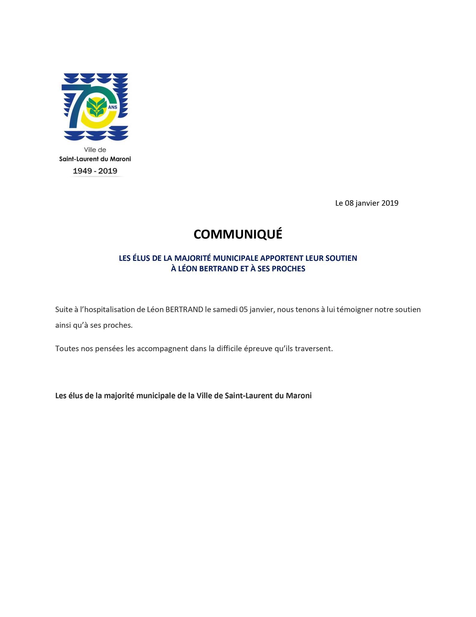 [Communiqué] : les élus de la majorité municipale apportent leur soutien à Léon BERTRAND et à ses proches suite à son hospitalisation le samedi 05 janvier.