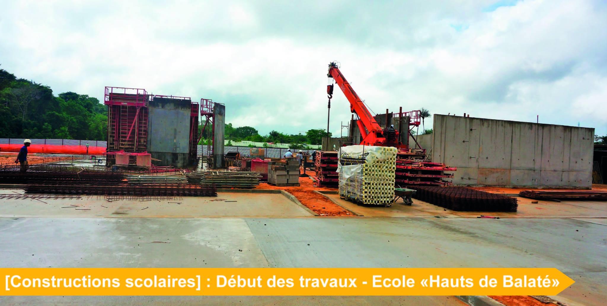 [Constructions scolaires] : construction en cours du groupe scolaire « Les hauts de Balaté » – route de Saint-Jean