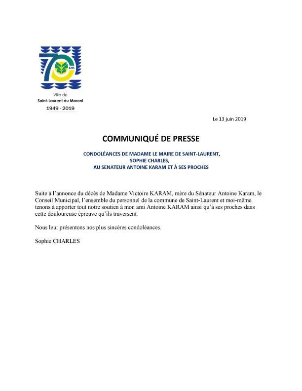 [Communiqué] : condoléances de Madame le Maire, Sophie CHARLES, au sénateur Antoine KARAM et à ses proches