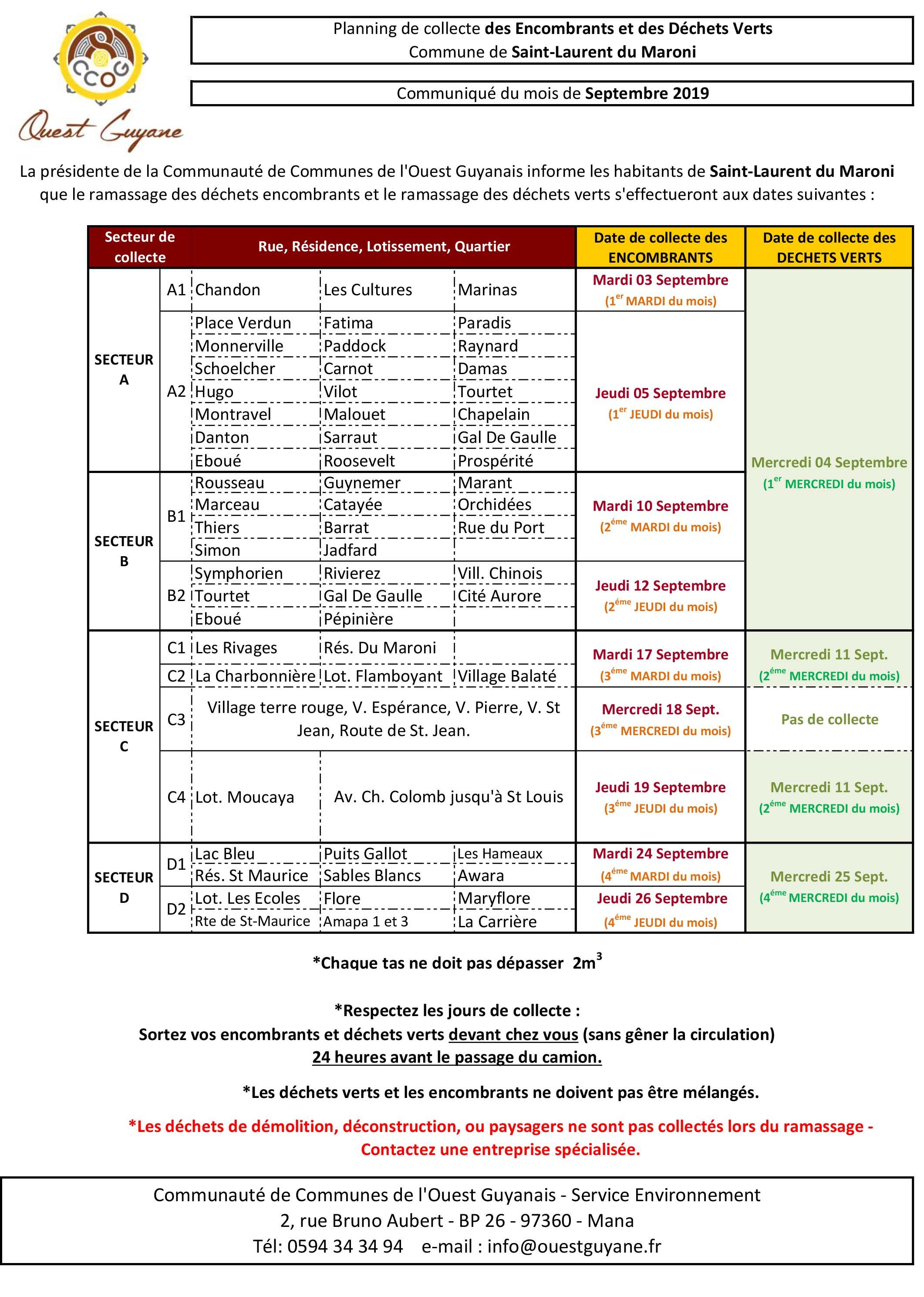 [CCOG] : planning de collecte des encombrants et déchets verts - Septembre 2019