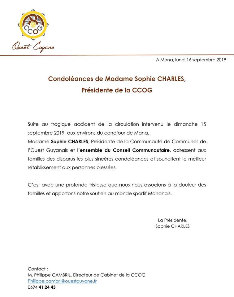 [Communiqué] : condoléances suite à l'accident de la circulation intervenu le dimanche 15 septembre 2019 aux environs du carrefour de Mana.