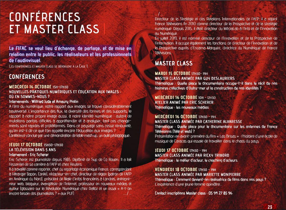 [CULTURE / FIFAC] : le #FIFAC vous propose également des conférences et des masterclass