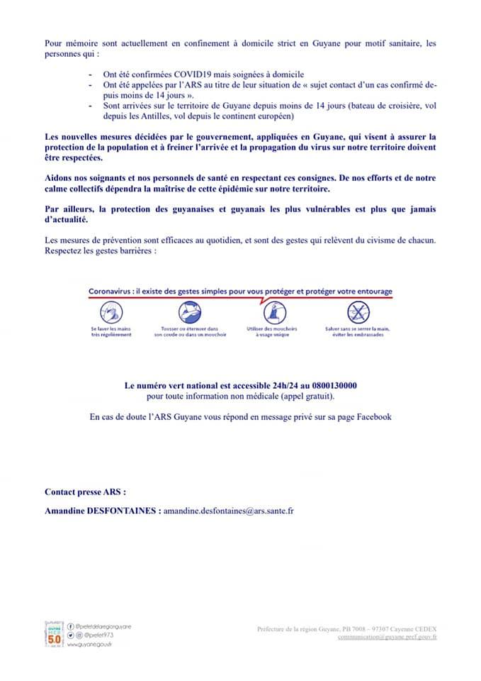 [Coronavirus guyane] : point de situation du 18 mars à 18h avec l'Agence Régionale de Santé Guyane