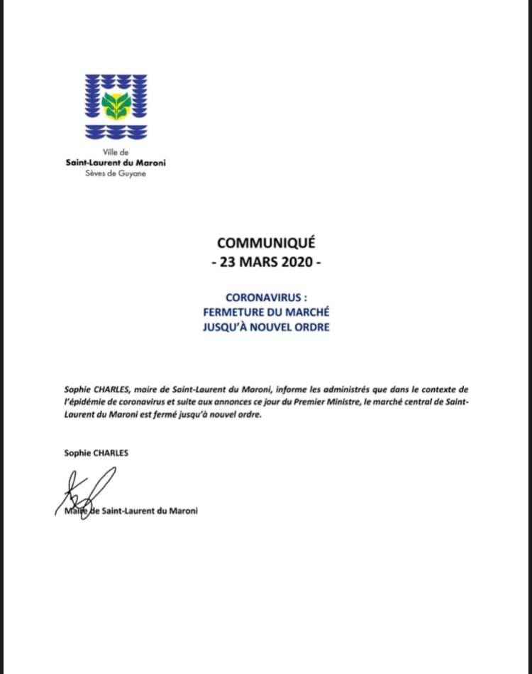 [Coronavirus guyane] : fermeture du marché de Saint-Laurent du maroni jusqu'à nouvel ordre