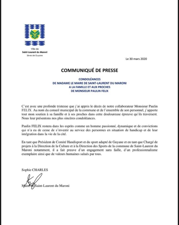 [Condoléances] : Madame le maire de la Ville de Saint-Laurent du Maroni présente ses condoléances à la famille et aux proches de Monsieur Paulin FÉLIX