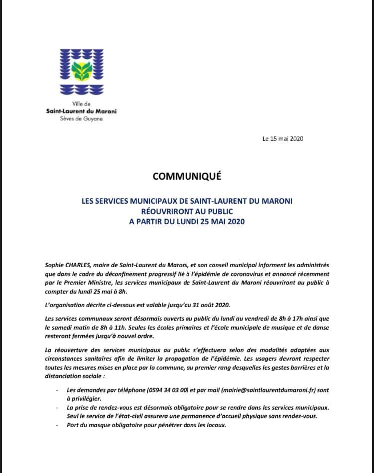 [déconfinement] : réouverture au public des services municipaux de #saintlaurentdumaroni à compter du 25 mai 2020
