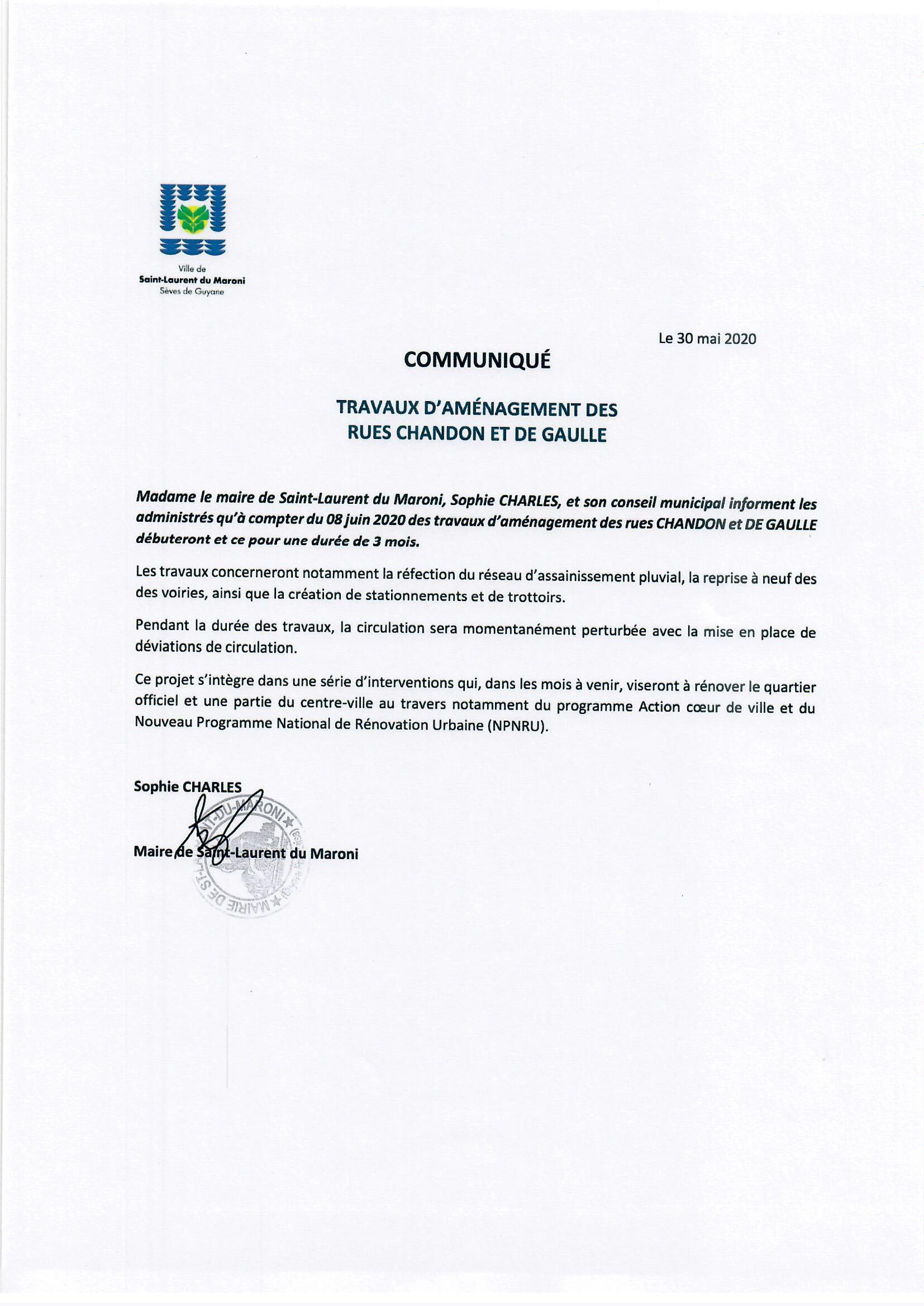 [#communiqué] : travaux d'aménagement des rues CHANDON et DE GAULLE