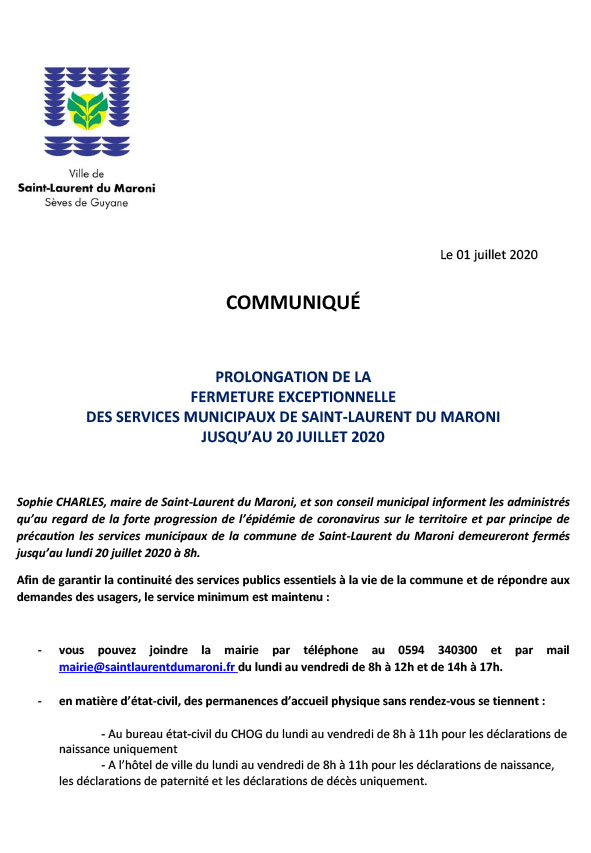 [#ServicesMunicipaux] : prolongation de la fermeture exceptionnelle des services municipaux jusqu'au 20 juillet 2020