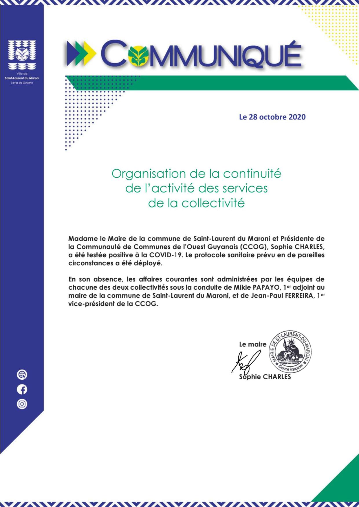 #Communiqué : Organisation de la continuité des services de la collectivité
